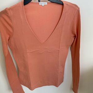 James Perse coral long sleeve v neck shirt size 2
